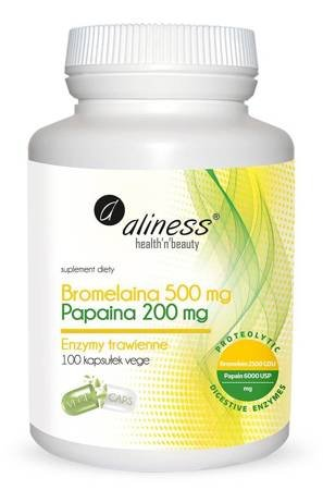 Aliness Bromelaina 500 mg + Papina 200 mg 100 kapsułek vege