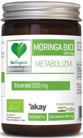 BeOrganic Moringa BIO 500 mg Extract 100 tabletek