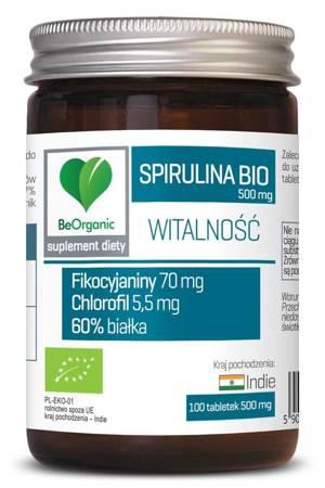 BeOrganic Spirulina BIO 500 mg 100 tabletek