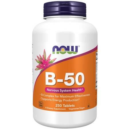 Now Foods B-50 Witamina B Complex 250 tabletek