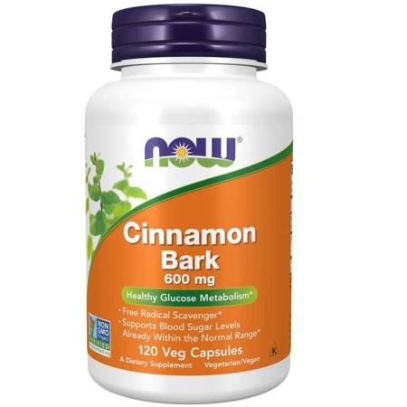 Now Foods Cynamon (Cinnamon Bark) 600 mg 120 kapsułek