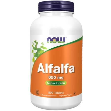 Now Foods Lucerna (Alfalfa) 650 mg 500 tabletek